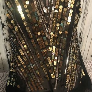 jaloux Tops - Black top with gold sequins by jaloux size medium